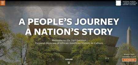 The hompepage of the National Museum of African American History and Culture's website on the museum