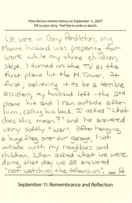 Visitor comment card from the National Museum of American History's September 11: Remembrance and Re