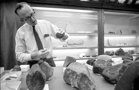 Roy S. Clarke Examines Samples from a Mexican Meteorite Shower