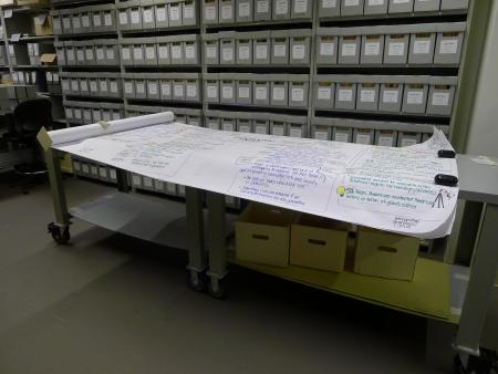 Unrolled group of graphic recordings showing just how large and unwieldy these records are. Photo by