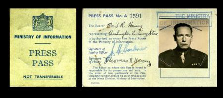 Thomas R. Henry Press Pass, Record Unit 7347: Thomas R. Henry Papers, 1933-1967, Smithsonian Institu