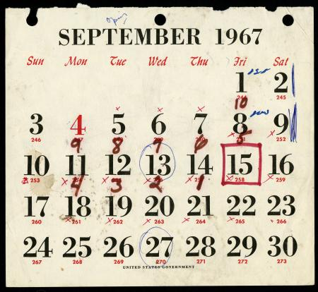 Calendar page from September 1967 with dates circled and x'ed out in ink.