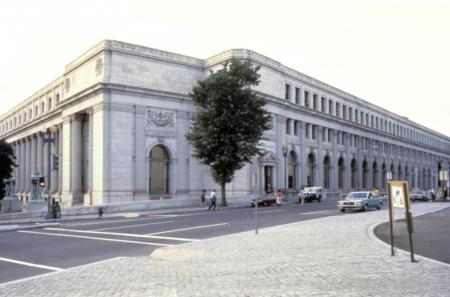 Color photograph of the National Postal Museum building taken from across the street.