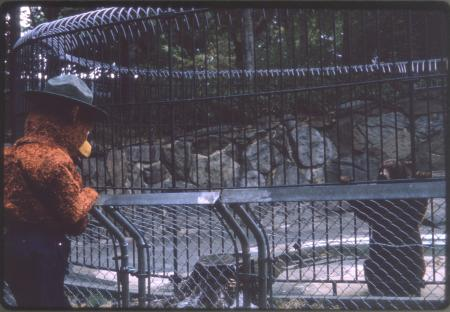 Smokey Bear Mascot Visits Smokey Bear at National Zoological Park