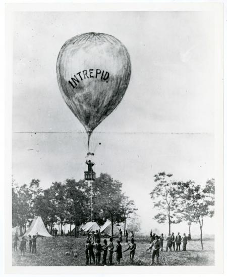 "Thaddeus Lowe's balloon test of the ""Intrepid"" at the battle of Fair Oaks, Virginia,  1862, by Brady"