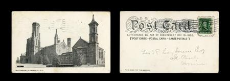 Grayscale Postcard of the Smithsonian Institution Castle, February 13, 1905, Record Unit 95 - Photog