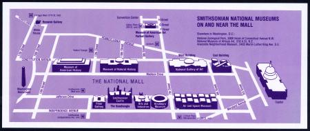 "Map of the National Mall - ""Where is the Smithsonian?"" flyer, March 1985, Accession 14-034 - Office"