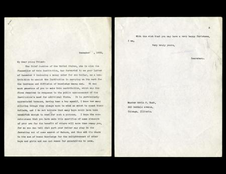 December 23, 1925 letter, Chalres Doolittle Walcott to Orrin Nash, Record Unit 45 - Office of the Se