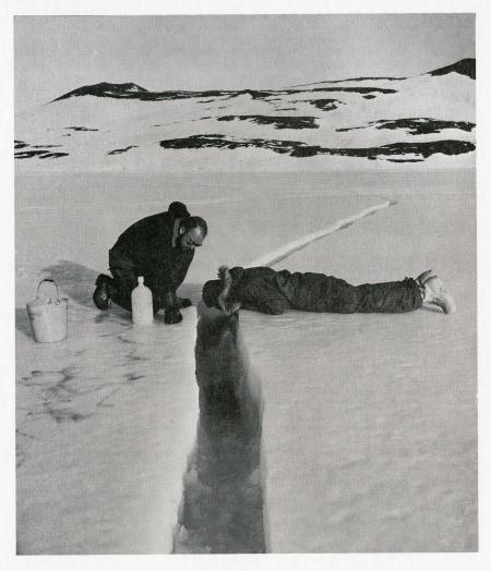 A recently opened crack in the sea ice north of Hut Point (December 11, 1959). Such cracks frequentl