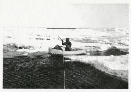 Rubber boat used to make collections when open water was available, in this case off Cape Evans  (Ja