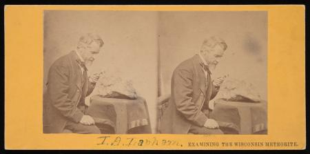Stereograph of Increase Allen Lapham (1811-1875) examining a fragment of a meteorite found in Trento