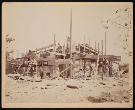 Construction of the Lion House at National Zoological Park, April 15, 1891, by C.M. Bell.