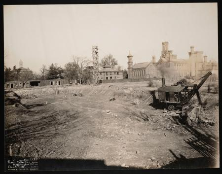 Construction of Freer Gallery Art, November 1, 1916, with Smithsonian Institution Building, or Castl