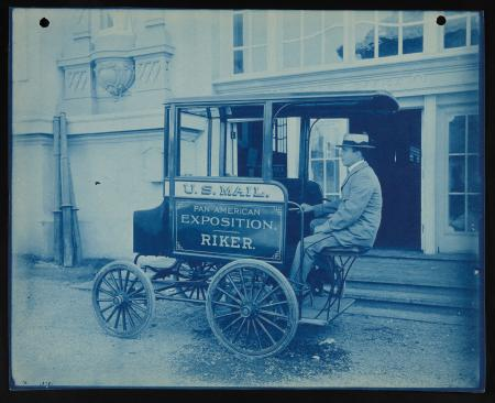 Cyanotype, Riker Electric Mail Wagon vehicle for exhibition by Post Office Department at Pan-America