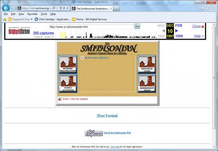 The Internet Archive's capture of the Smithsonian homepage from 1997 available via the Wayback Machi