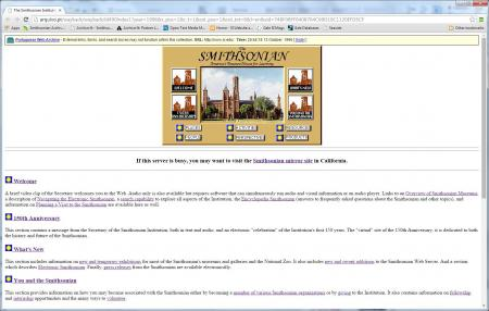 The Portuguese Web Archive has an older capture of the Smithsonian homepage from 1996. The links fro