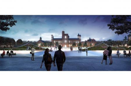 View of the Smithsonian Castle from Independence Ave. Design by BIG, the Bjarke Ingels Group.
