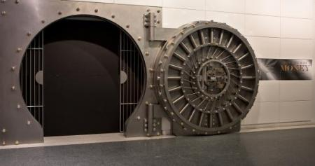 Vault door installed at the entrance to the new Numismatics Gallery at the National Museum of Americ