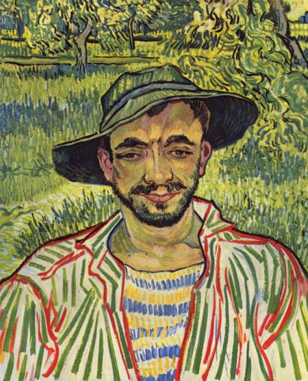 Color painting of a gardener by Vincent Van Gogh.
