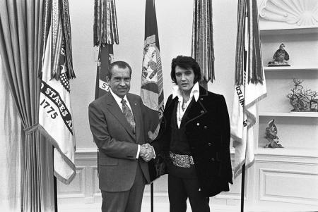President Nixon with Elvis Presley, December 21, 1970, Roll-Frame number: WHPO 5364-18.
