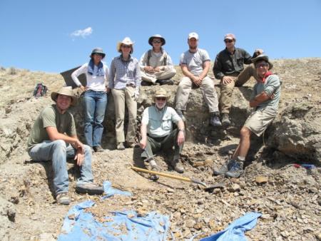 Secretary G. Wayne Clough digging for fossils in Wyoming.