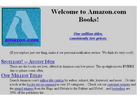 Amazon homepage, 1995.
