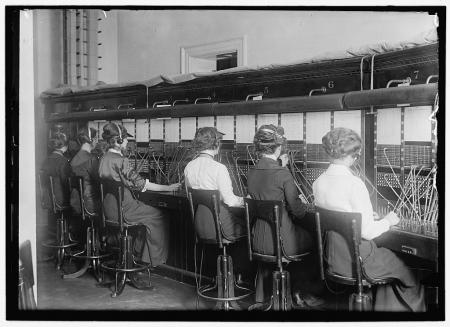 Telephone Operators, C.1914-1917, by Harris & Ewing, glass negative, Library of Congress, Prints and