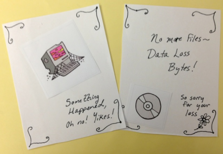 Data loss card mockup by Abbie Grotke; graphics from the Digital Preservation Business Case Toolkit.