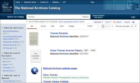 NARA's new and updated National Archives Catalog.