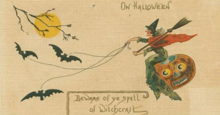 On Hallowe'en, Holiday Postcards Collection, New York Public Library, image id 1587792.