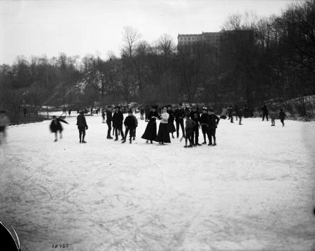 Ice skaters on Rock Creek on the grounds of the National Zoological Park, c. 1905, Record Unit 95 -