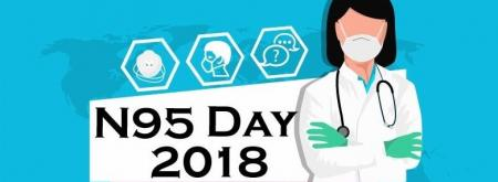 NPPTL's promotional graphic of a nurse wearing a respirator next to the words N95 Day 2018.