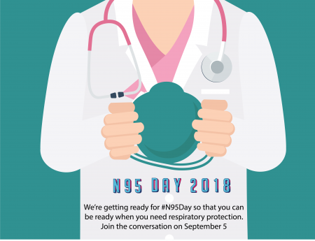 "NPPTL's promotional graphic of a nurse's hands holding a respirator above the words: ""N95 Day 2018."