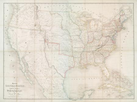 Faded color map of the United States as it was in 1839.