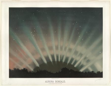 Color print of the Aurora Borealis.