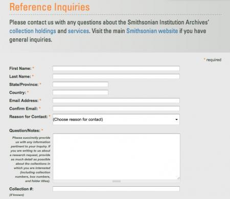 Reference form for inquiries and use of collections, Smithsonian Institution Archives.
