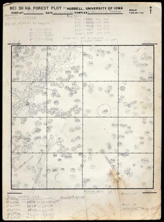 A handwritten map. On a square box are tiny, labeled circles. The paper is dated 1992.
