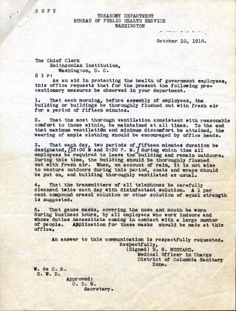 Memo from H.S. Mustard advising the Smithsonian to adhere to the precautions mentioned above.
