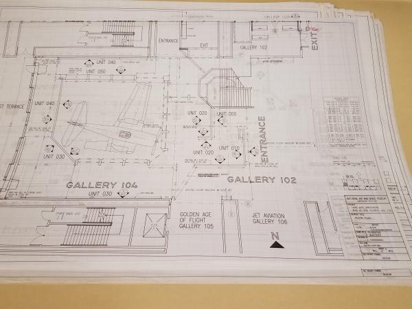 Floor plan of the exhibit. This photo was taken while the plan was still in its folder at the Archiv