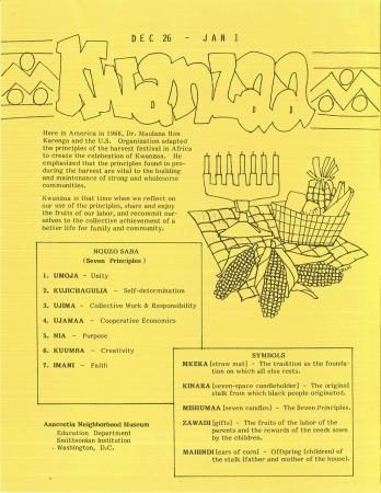 Flyer with a sketch of a Kwanzaa table, a list of symbols, and a list of the seven principles.