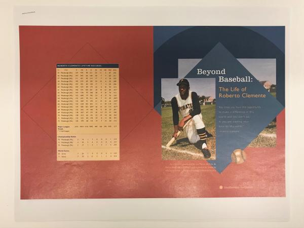 Stapled sheet of paper with a red and blue background and an image of a baseball player, wearing a P