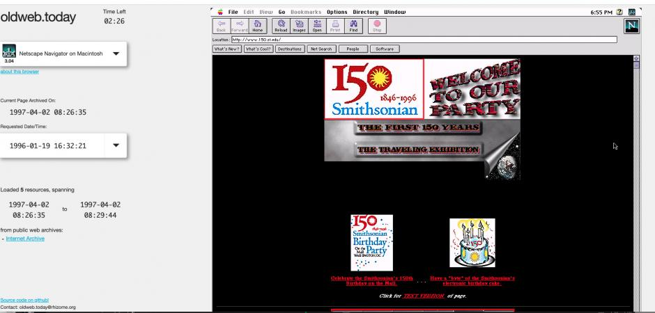 Website screen capture of the www.150.si.edu 1997 homepage in software that emulates the Netscape we