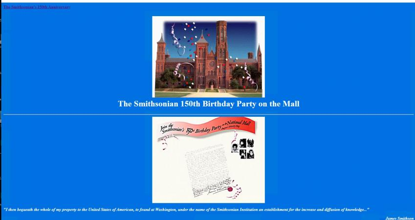 Website display of the birthday party page for the Smithsonian in 1996.