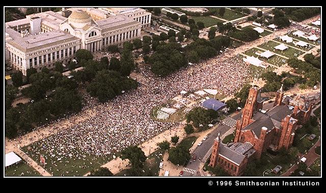 A crowd outside the Smithsonian Institution Building for the 150th celebration.