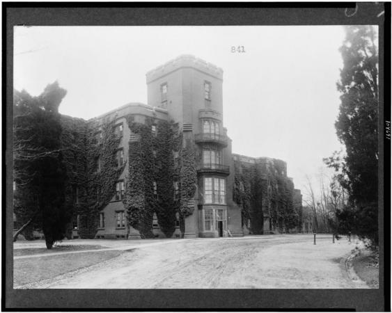 Exterior of a large building on St. Elizabeths Hospital Campus.