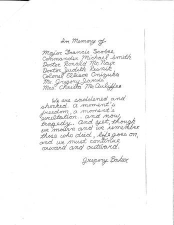 A poem handwritten by Gregory Baker.
