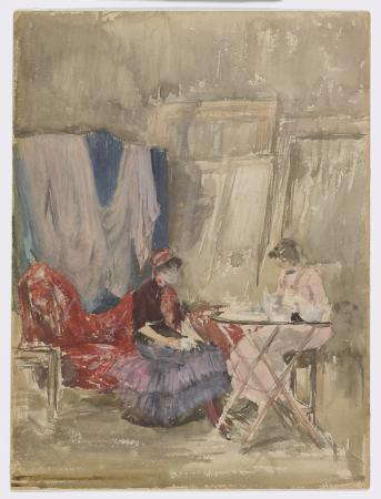 Two women seated near a table, one on a sofa and the other in a chair near a table with canvases a