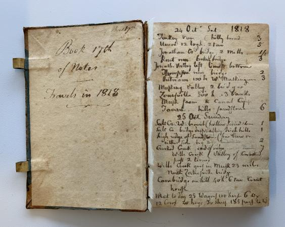 The back page of the front cover and the first page of a book is visible. The notes are dated 1818.