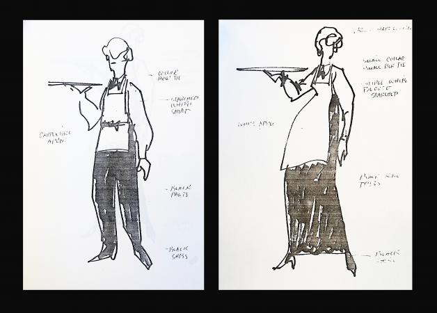 Two sketches of uniforms for servers for a man and woman. Both are holding trays and wearing aprons.