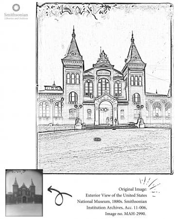 Coloring page of the exterior of the Arts and Industries Building.